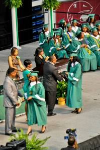 Philanesha receiving her diploma at graduation Monday night.