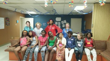 Tammy with her 11-14 year old girls at Camp Faith!